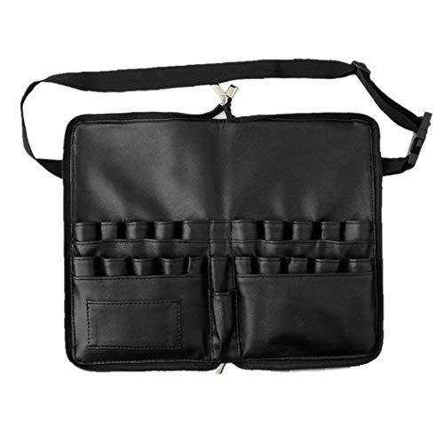 Berrywho Bolsa de piel para brochas de maquillaje, delantal de maquillaje, estuche organizador de viaje con compartimentos y correa para cinturón para mujer, color negro