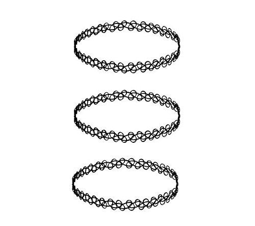 BENET 3tk Tattoo Halskette schwarz | Choker stretch Schmuck Kette