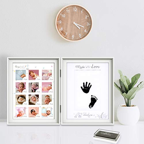 Newborn Baby Handprint and Footprint Kit, Baby Keepsake Baby Frames for Photos First Year Baby Handprint Kit & Baby Footprint Kit with Ink Pad Unique Baby Shower Gifts for Newborn Baby Boys and Girls