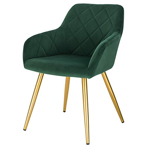 EUGAD 1x Dining Room Chair Kitchen Side Chair for Bedroom Living Room Dark Green Velvet Dining Chair with Arms Rest, Back Support & Golden Metal Legs, 0627BY-1
