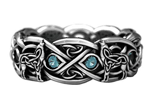 SumBonum 925 Sterling Silver Vintage Woven Celtic Knot Wolf Viking Eternity Wedding Band Ring,Size 10