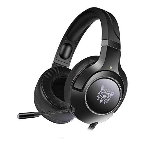 Casque de Jeu: Respirer LED avec Un Microphone avec 7 Couleurs de Bruit de Respiration réglable, Convient for PC, PS4, Xbox-Casque 3,5 mm