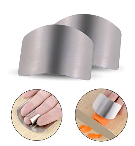 BestProductsBestPrices 2X Finger Guard For Cutting, Unbreakable Stainless Steel Safe Slice Knife Guard Slicing Cutting Protector | Finger Hand Protector Guard