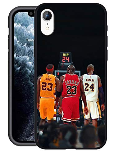 Compatible with iPhone XR Case, Basketball Star Theme Designed for iPhone XR Case 6.1 inch Cover (Lebron-Jordan-Kobe)