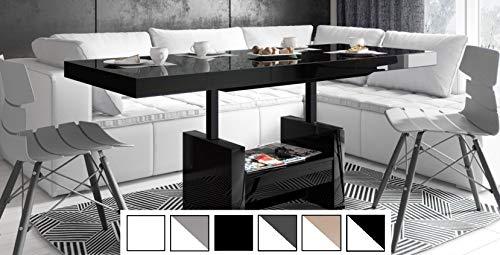 Design Couchtisch Tisch HLU-111 Schwarz Hochglanz Schublade höhenverstellbar ausziehbar Esstisch