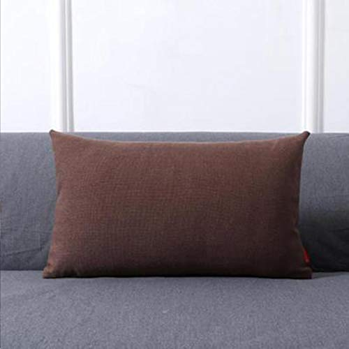 Almohada de color sólido para el hogar, sofá, cojín grande, accesorios para el coche, almohada simple lumbar, marrón oscuro, 30 x 50 cm