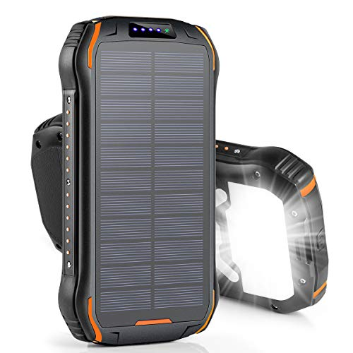 XIYIHOO Solar Powerbank 26800mah,Solar Ladegerät schnelles Aufladen mit 2 Eingangsports/ 3 Ausgängen Tragbarer IPX6 wasserdichter externer Backup-Akku für Smartphones, Handys, Outdoor Aktivitäten
