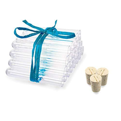 Tuuters 25x Kunststoff Reagenzgläser mit Korken (Naturkorken), Reagenzglas, Reagenzröhrchen (100 x ø 16 mm)