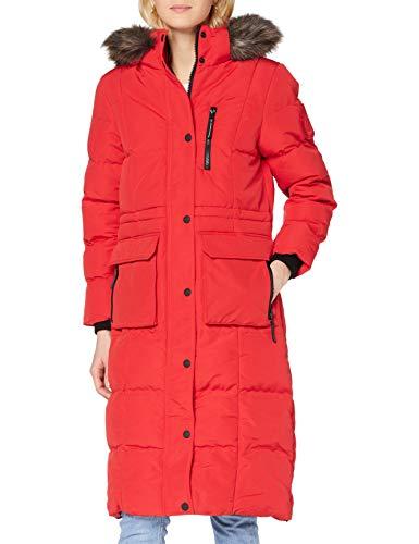 Superdry Longline Faux Fur Everest Coat Abrigo de piel sintética, Rojo de...