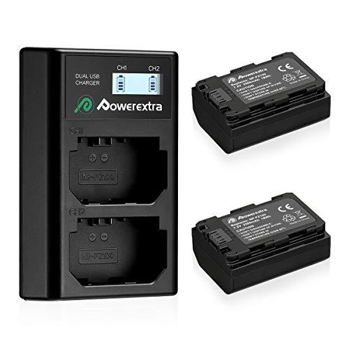 Powerextra 2 Batterie de Rechange Compatible avec Sony NP-FZ100 2500mAh et Chargeur de Batterie Double LCD pour Sony Alpha 9 Sony A9 Sony A9R Sony Alpha 9V Sony A9s Sony A7RIII Sony A7R3 Sony a7 III