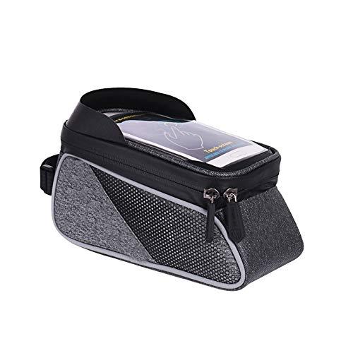 YLLHK Bike Frame Bag Impermeable Bicicleta Bolsa, Bolsa Bicicleta Manillar, Bolsa Tubo Frontal de Bicicleta con Pantalla Táctil y Visera Solar, para Teléfono Inteligente por Debajo 6,0 Pulgadas