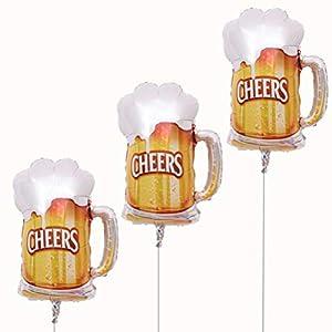 TOYANDONA Dos Globos,una Corona Preciosa y un Vaso de Cerveza,un Globo de película de poliéster,un Globo de Helio,una Fiesta de cumpleaños Decorado.