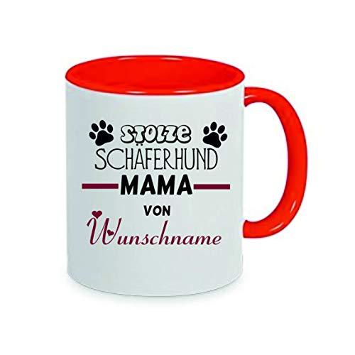 Crealuxe Stolze Schäferhund Mama von (Wunschname) - Kaffeetasse, Bedruckte Tasse mit Sprüchen oder Bildern, Bürotasse,