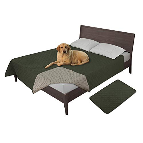 Easy-Going 100% Waterproof Dog Bed Cover Furniture Protector Sofa Cover Non-Slip Washable Reusable Incontinence Bed Underpads for Pets Kids Children Dog Cat(68X82 in,Dark Green)