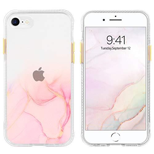 DUEDUE Coque iPhone 8/7/SE Transparente avec Motif Antichoc Protection Rigide Solide Esthétisant Pailletté Rose Coque de Téléphone iPhone 7 Silicone Case Fine Fille pour iPhone 7/8/SE 2020