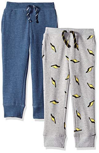 Amazon Brand - Spotted Zebra Kids Boys Fleece Jogger Sweatpants, 2-Pack Navy Heather/Lightning Bolt, Medium