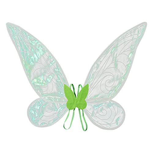 YOOJIA Kids Girls Sparkling Sheer Angel Wings with Elastic Shoulder Straps Fairy Halloween Cosplay Costume for Dress Up Party Green One Size