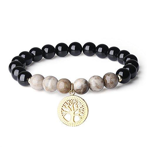 COAI Pulsera de Turmalina Negra y Jaspe Hoja de Plata con Amuleto Árbol de la Vida