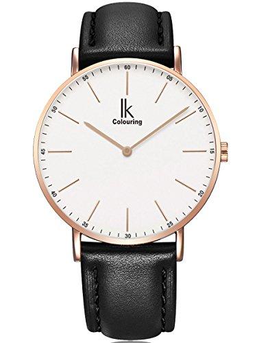 Alienwork IK Damen Herren Armbanduhr Quarz Rose-Gold mit Lederarmband schwarz Ultra-flach Slim-Uhr