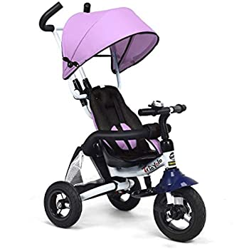 HONEY JOY Baby Tricycle 6 in 1 Kids Foldable Trike Storller Toddler Ride On Push Bike with Parent Handle Detachable Guardrail Adjustable Canopy Safety Harness Shock-Absorbing Wheels Pink
