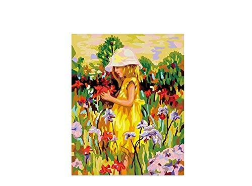 FGHJSF Pintar por Numeros Niña de Las Flores Lienzo Pintura al óleo para Adultos y Niños DIY Pintura al Óleo por Números Decoración del Hogar - 40 x 50 cm (Sin Marco)
