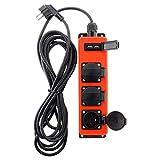 Steckdosenleiste, 3 Steckdosen, 16 A, 2P+T, mit 2 x USB 2,1 A, für den Außenbereich – Kabel HO7RNF 3G1,5, 3 m, IP44, Schwarz & Rot