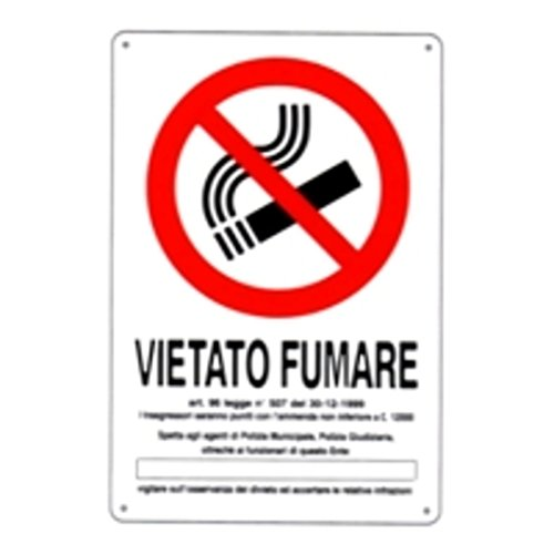 CARTELLO VIETATO FUMARE DL 20x 30 PLASTICA [TARGOTIMBRI ]