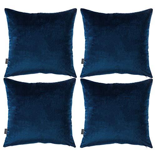 Thmyo 4Stück Deko-Kissenbezug, quadratisch, weiche Samt-Kissen für Sofa Couch (45,7x 45,7cm 45x 45cm, nur für Schlafzimmer, mit) dunkelblau