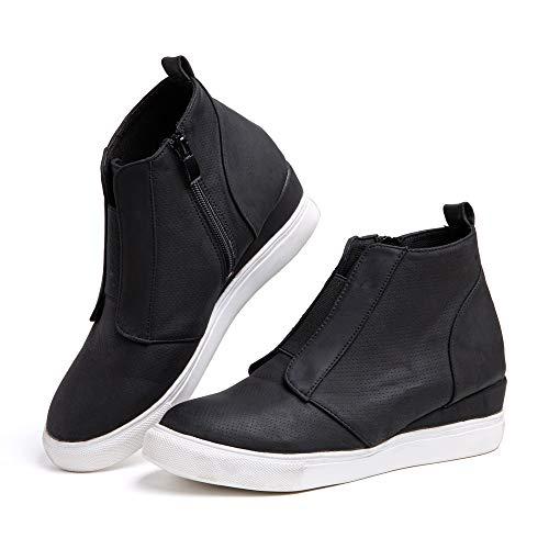 Zapatillas Mujer Cuña Sneakers Plataforma Zapatos Altas Cremallera Botín Respirable Casual Comodas...