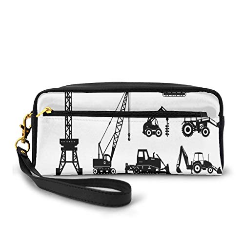 Pencil Case Pen Bag Pouch Stationary,Black Silhouettes Concrete Mixer Machines Industrial Set Trucks Tractors,Small Makeup Bag Coin Purse