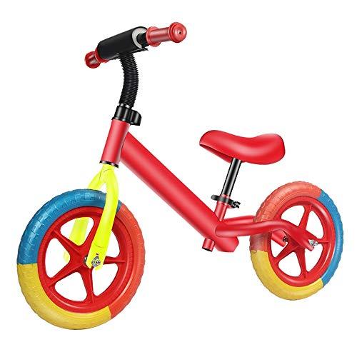 QHY Bicicleta De Equilibrio para Niños De 12 Pulgadas, 2-6 Años, Sin Pedales, Bicicleta De Altura Ajustable, Andar En Bicicleta, Aprender A Caminar, Scooter con Manillar Giratorio (Color : Red)