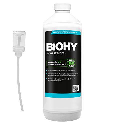 BiOHY Rohrreiniger (1l Flasche) + Dosierer | EXTRA STARK | Flüssiger, hochkonzentrierter Abflussreiniger | Geruchsneutral | Für alle Verstopfungen