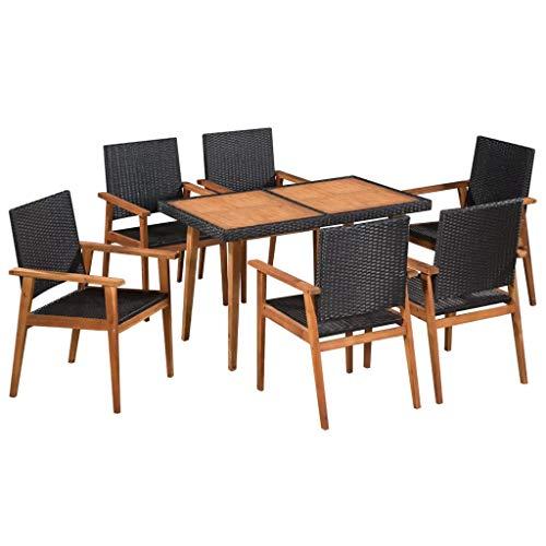 CFG - Juego de comedor de jardín de ratán sintético de 7 piezas, mesa de comedory sillas de 6 plazas, juego de comedor al aire libre | muebles de jardín de ratán sintético