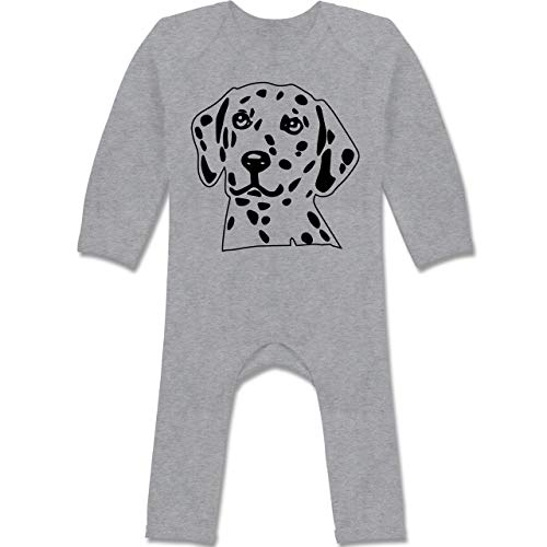 Shirtracer Tiermotive Baby - Dalmatiner - 3/6 Monate - Grau meliert - verspielt - BZ13 - Baby-Body Langarm für Jungen und Mädchen