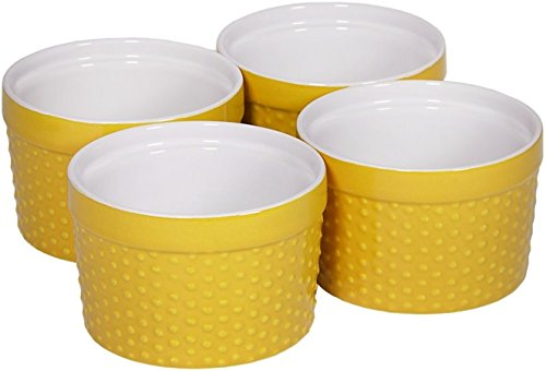 Home Essentials & Beyond 66477 6 oz. Mini Stoneware Hobnail Ramekins44; Yellow - Set Of 4