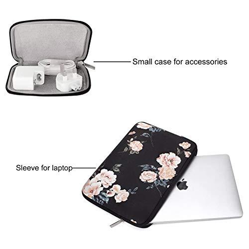 MOSISO Laptop Hülle Kompatibel mit MacBook Air 13 Zoll A2337 M1 A2179 A1932 2018-2020,MacBook Pro 13 A2338 M1 A2251 A2289 A2159 A1989 A1706 A1708,Wasserabweisende Neopren Kamelie Tasche mit Klein Fall