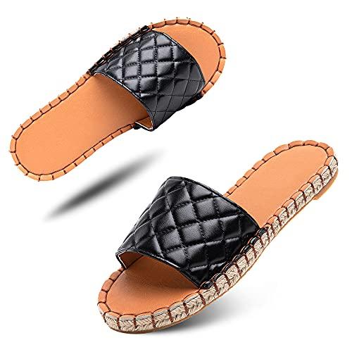 Sandalen Damen Pantoletten Espadrille Flach Schlappen Sommer Mules Frauen Bow Flache Sommerschuhe Hausschuhe Bequeme Schwarz Größe 39 EU