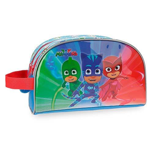 PJ Masks Winter Heroes Trousse de toilette deux compartiments adaptable Multicolore 26x16x12 cms Microfibre avec façade en PVC