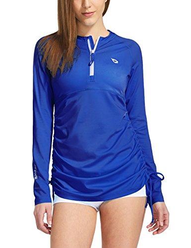 BALEAF Women's Long Sleeve Half-Zip Sun Protection Rashguard Side Adjustable Swim Shirt Royal Blue Size XXXL