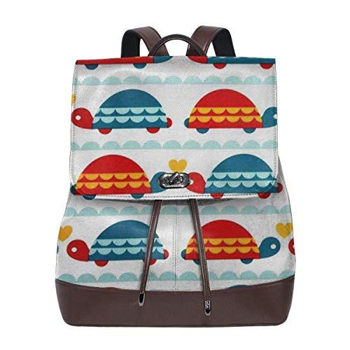 sunminey Damen Lederrucksack Women Backpack Purse Love The Turtle Waterproof PU Leather Anti-Theft Schoolbag Lightweight Rucksack Travel Bags