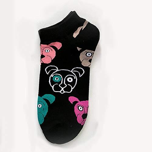 FENGHUAN Calcetines de algodón para Mujer, Novedad, Calcetines deTobillo con Animales de Oveja y Gato de Dibujos Animados Bonitos, Calcetines Casuales Cortos Coreanos USA6-10 BlackDog