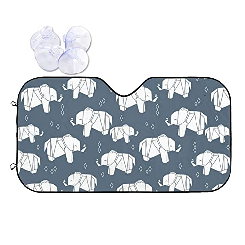 N\\A Car Windshield Sunshade Uv Protector Automotive Origami Elephant Grey Window Sunshades Fit for Cars, Suvs, Trucks Keeping Your Vehicle Cooler