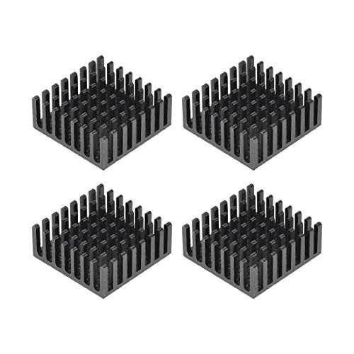 sourcing map 10x25x25mm Black Aluminum Heatsink Thermal Adhesive Pad Cooler for Cooling 3D Printers 4Pcs