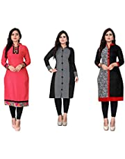 Kesari King Women's A-Line Pack Of 3 Cotton Printed Semi Stiched Kurti Material(100217GreyStraightX)