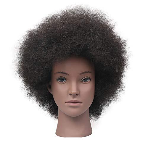 CANDYANA Afro Formation Head 100% Humain Cheveux Tête à coiffer Cosmétologie Salon de Coiffure Chef Manikin Mannequin Poupée Mannequin tête avec Free