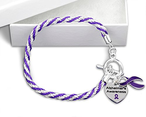 Fundraising For A Cause | Alzheimer's Awareness Charm Bracelet with Accent String - Purple Ribbon Bracelet for Alzheimer's Awareness (1 Bracelet)