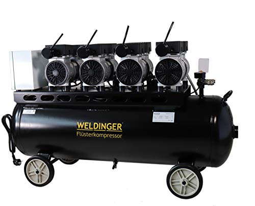 WELDINGER FlüsterWeldinger Kompressor FK 360 pro 3000 W/230 V Motoren einzeln schaltbar innenbeschichteter 90 Liter Tank