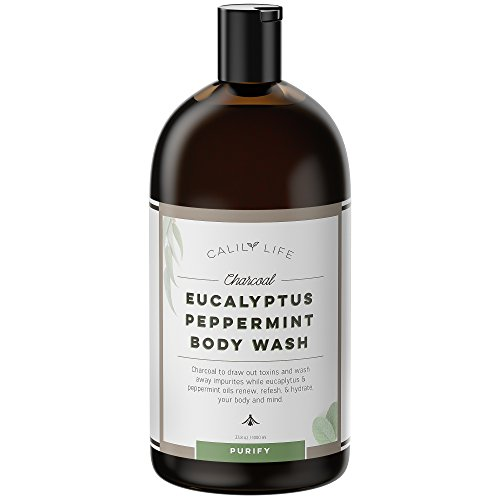 Calily Life Organic Detoxifying Charcoal + Eucalyptus + Peppermint Body Wash, 33.8 Oz. – Deep Cleansing and Refreshing + Therapeutic, Relaxing & Invigorating