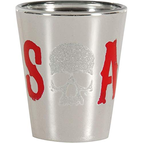 JUST FUNKY Sons of Anarchy Glitter Skull Logo Shot Glass