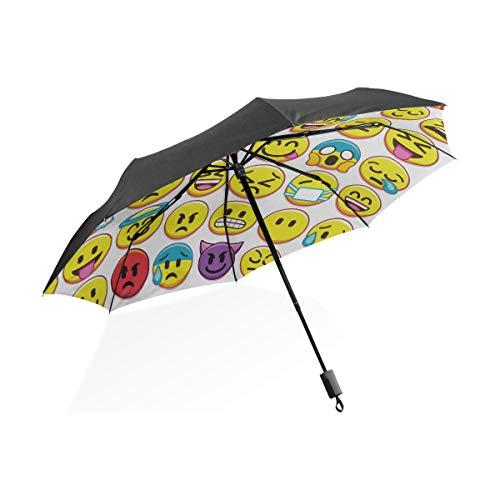 Paraguas para niñas para niños Conjunto de Diferentes Emojis aislados en Paraguas Plegable Compacto portátil Protección contra Rayos UV A Prueba de Viento Viajes al Aire Libre Mujeres Paraguas Invert